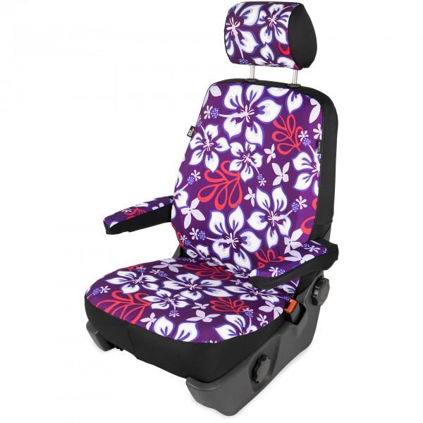 Sitzbezug (geteilt) inkl. Kopfstützenbezug, Hibiskus lila
