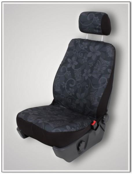 Paar Sitzbezüge (geteilt), Tiki Maske schwarz, inkl. Kopfstützenbezügen