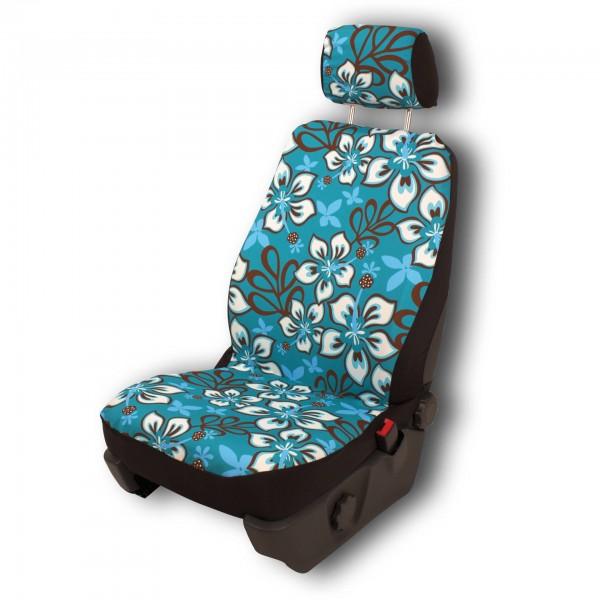 Paar Sitzbezüge (geteilt), Hibiskus türkis - mit Airbag-Reißnaht, inkl. Kopfstützenbezügen