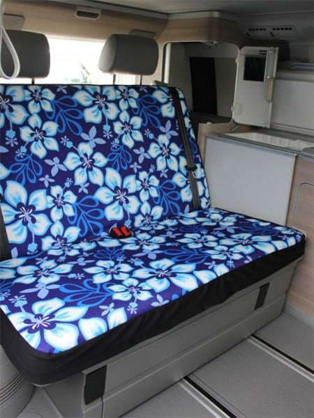 VW T5 / T6 California Rückbankbezug, Hibiskus blau, inkl. Kopfstützenbezüge