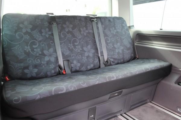 VW T5 / T6 Multivan Rückbankbezug, Tiki Maske schwarz, inkl. Kopfstützenbezüge