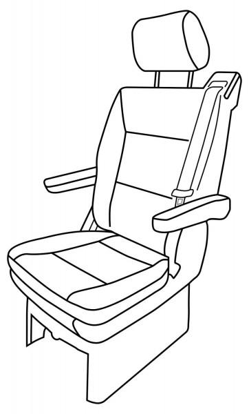 Sitzbezug für Einzelsitz mit Gurtaufsatz inkl. Kopfstützenbezug