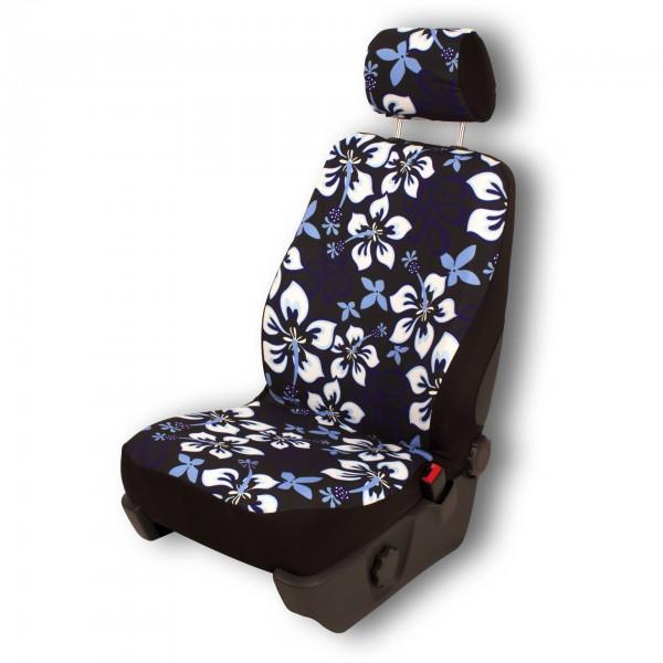 Paar Sitzbezüge (geteilt), Hibiskus schwarz, inkl. Kopfstützenbezügen