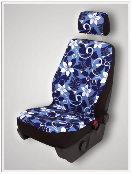 Paar Sitzbezüge (geteilt), Tiki Maske blau, inkl. Kopfstützenbezügen