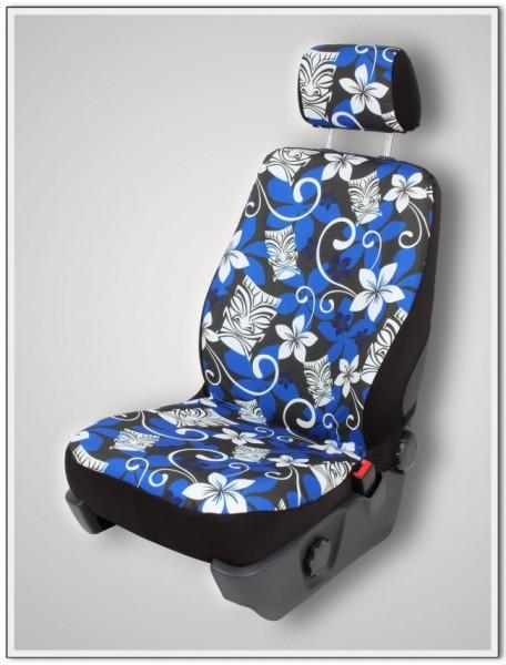 Paar Sitzbezüge (geteilt), Tiki Maske grau-blau, inkl. Kopfstützenbezügen