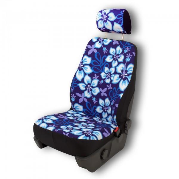 Paar Sitzbezüge (geteilt), Hibiskus blau - mit Airbag-Reißnaht, inkl. Kopfstützenbezügen